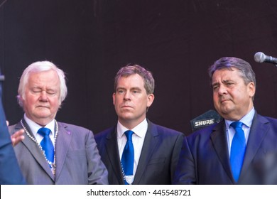 Kiel, Germany - June 18nd 2016: Impressions of the first Day of the Kieler Woche 2016 with the Grand Opening by the German vice-chancellor Sigmar Gabriel and a Demonstration