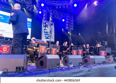Kiel, Germany - June 21st 2016: The Waken Firefighters on the Rathaus Stage during the Kieler Woche 2016