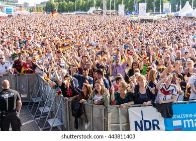 Kiel, Germany - June 21st  2016: Fans celebrate the Goal by Germany during Public Viewing during the Kieler Week 2016