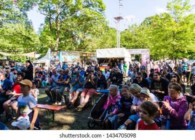Kiel, Germany - June 22nd 2019: Fördesabers are showing a light saber sword fight in the Junge Bühne during Kiel Week 2019