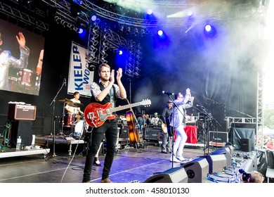 """Kiel, Germany - June 23rd 2016:   Bela B. from the Band """"Die Aerzte"""" on the Rathaus Stage during sixth Day of the Kieler Woche 2016"""