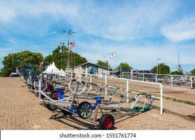 Kiel, Germany, June 24, 2019 - The sailing regattas of the Olympic boat classes for Kiel Week take place in front of Kiel-Schilksee, the venue for the 1972 Olympic sailing competitions.