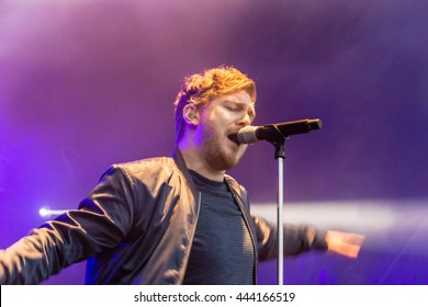 """Kiel, Germany - June 25th 2016: The Band """"Stanfour"""" performs on the Hoern Stage during the Kieler Woche 2016"""