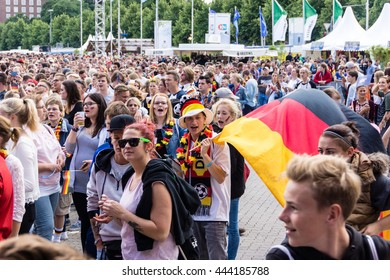 Kiel, Germany - June 26th 2016: Public Viewing of the Football Match Germany - Slovakia during the Kieler Week 2016