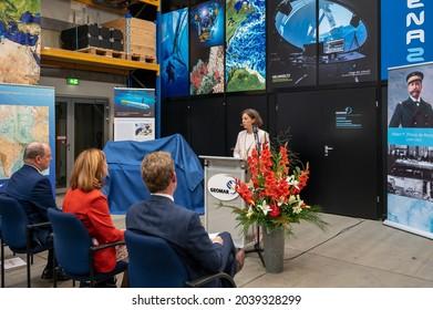 Kiel, Germany, Sep 8. 2021 Prof. Dr. Katja Matthes as a speaker during the visit of Prince Albert II of Monaco to Geomar in Kiel