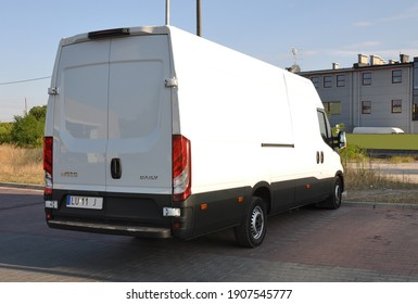 Kielce, Świętokrzyskie, Poland - 2020-08-16 - White delivery truck car iveco daily parked in parking lot