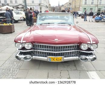 KIELCE, POLAND - APRIL 8 2019: Editorial image of classic cars exhibition   Front Photo of a red Cadillac Eldorado 1960 antique american muscle car.