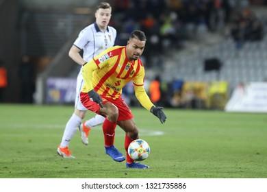 KIELCE, POLAND - FEBRUARY 22, 2019: Polish Premier Football League Korona Kielce - Pogon Szczecin o/p Felicio Brown Forbes