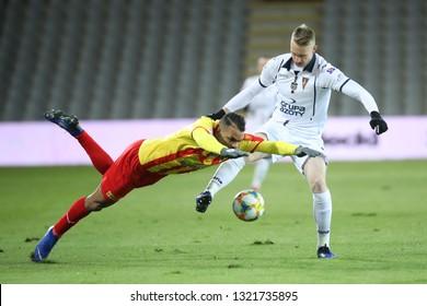 KIELCE, POLAND - FEBRUARY 22, 2019: Polish Premier Football League Korona Kielce - Pogon Szczecin o/p Felicio Brown Forbes, Mariusz Malec