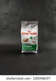 KIELCE, POLAND - FEBRUARY 5, 2019: Editorial image of the ROYAL CANIN EXIGENT dog food bag isolated on black background.