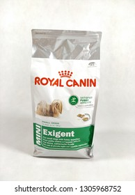 KIELCE, POLAND - FEBRUARY 5, 2019: Editorial image of the ROYAL CANIN EXIGENT dog food bag isolated on white background.