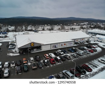 KIELCE, POLAND - JANUARY 25, 2019: Editorial drone photograhpy, Aerial image of the Lidl supermarket.