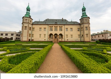 KIELCE, POLAND - MAY 2, 2018: 17th century baroque Palace of the Krakow Bishops in Kielce
