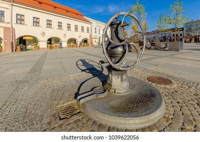 KIELCE, SWIETOKRZYSKIE PROVINCE / POLAND - OCTOBER 5, 2016: vintage water pump at Marketplace.
