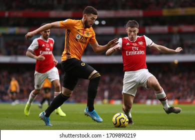 Kieran Tierney of Arsenal and Matt Doherty of Wolverhampton Wanderers - Arsenal v Wolverhampton Wanderers, Premier League, Emirates Stadium, London, UK - 2nd November 2019
