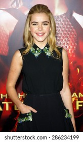 """Kiernan Shipka at the Los Angeles premiere of """"The Hunger Games: Catching Fire"""" held at the Nokia Theatre L.A. Live in Los Angeles on November 18, 2013."""