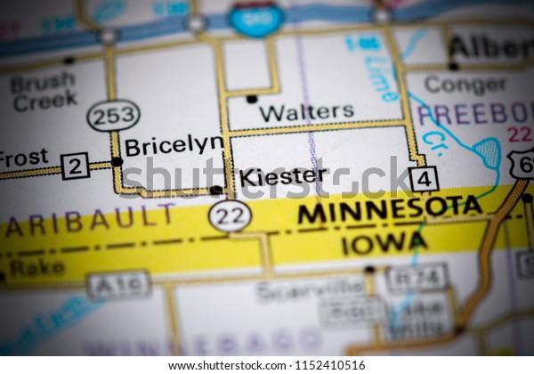 Kiester. Minnesota. USA on a map