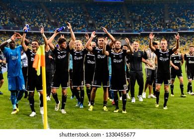 KIEV - AUG 28, 2018: Ajax players celebrate the victory. Dynamo Kyiv - Ajax Amsterdam. UEFA Champions League'19, 3rd qualify round, 2nd leg.