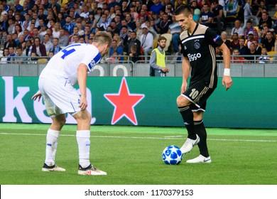 KIEV - AUG 28, 2018:  Dusan Tadic 10. Dynamo Kyiv - Ajax Amsterdam, UEFA Champions League'19, 3rd qualify round, 2nd leg.
