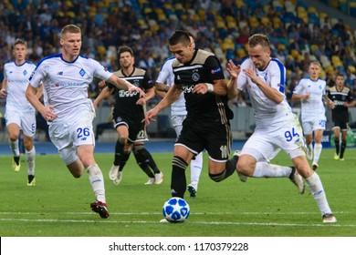 KIEV - AUG 28, 2018:  Dusan Tadic 10 attacks . Dynamo Kyiv - Ajax Amsterdam, UEFA Champions League'19, 3rd qualify round, 2nd leg.