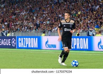KIEV - AUG 28, 2018:  Dusan Tadic 10, Dynamo Kyiv - Ajax Amsterdam, UEFA Champions League'19, 3rd qualify round, 2nd leg.