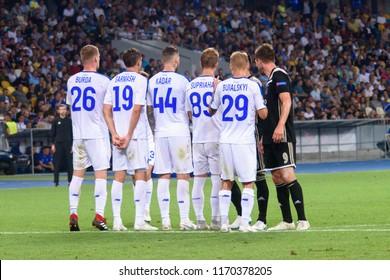 KIEV - AUG 28, 2018:  Free kick players wall, Dynamo Kyiv - Ajax Amsterdam, UEFA Champions League'19, 3rd qualify round, 2nd leg.