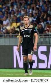 KIEV - AUG 28, 2018: Frenkie De Jong 21,  Dynamo Kyiv - Ajax Amsterdam, UEFA Champions League'19, 3rd qualify round, 2nd leg.