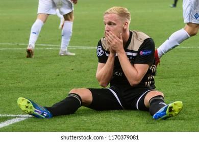 KIEV - AUG 28, 2018:  Frenkie De Jong 21 is dissaponted, Dynamo Kyiv - Ajax Amsterdam, UEFA Champions League'19, 3rd qualify round, 2nd leg.