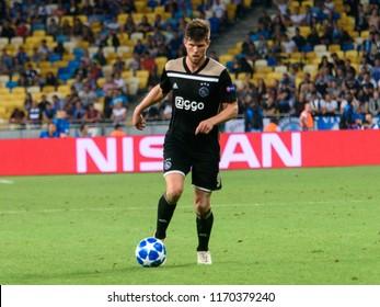 KIEV - AUG 28, 2018:  Klaas Jan Huntelaar 9, Dynamo Kyiv - Ajax Amsterdam, UEFA Champions League'19, 3rd qualify round, 2nd leg.