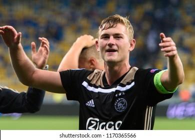 KIEV - AUG 28, 2018:  Matthijs de Ligt 4 the captain celebrates, Dynamo Kyiv - Ajax Amsterdam, UEFA Champions League'19, 3rd qualify round, 2nd leg.