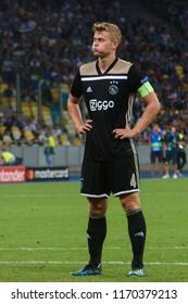 KIEV - AUG 28, 2018: Matthijs de Ligt 4 the captain, Dynamo Kyiv - Ajax Amsterdam, UEFA Champions League'19, 3rd qualify round, 2nd leg.