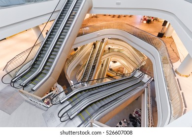 Kiev Central Department store (TSUM) after reconstruction. Interior of a modern supermarket. The main hall (atrium) of department store with escalators on November 29, 2016 in Kiev (Kyiv), Ukraine
