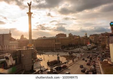 Kiev city life with dramatic sky