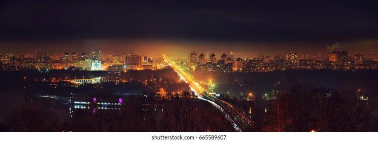 Kiev city night panorama
