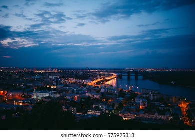 kiev city night view on bridge