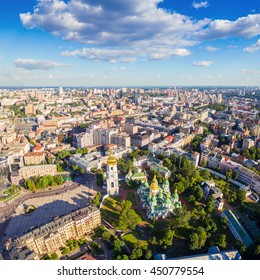 Kiev City skyline aerial view. Cityscape of capital of Ukraine. Sophia Square and St. Sophia Cathedral view.