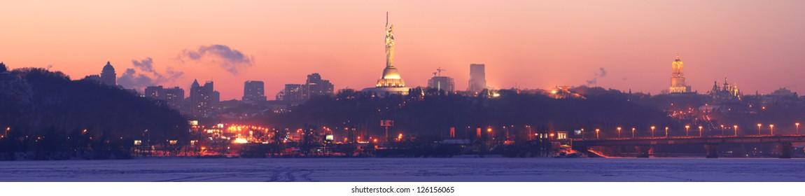Kiev Downtown Sunset Panorama