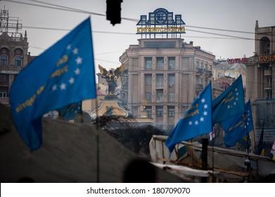 KIEV - FEBRUARY 27: People protest at Maidan Nezalezhnosti Square (EuroMaidan) after Ukraine suspended talks with the EU on association, February 27, 2014 in Kiev, Ukraine.