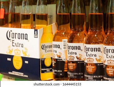 Kiev, Ikraine, February 13, 2020. Editorial illustrative. Bottles of Corona beer on a shelf in a store