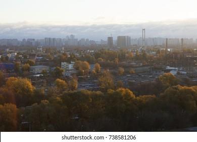 kiev industrial view in autumn sunset