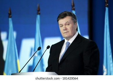 KIEV - JULY 14: Fourth President of Ukraine Viktor Yanukovych at the Congress Party of Regions of Ukraine, July 14, 2012 in Kiev, Ukraine.