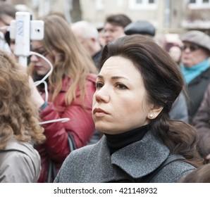 KIEV (KYIV), UKRAINE -March 22, 2016:Ukrainian politician Victoria Syumar