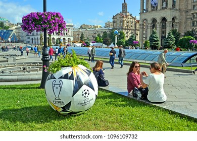 KIEV - MAY 21: Large ball as UEFA Champions League Final Symbols on May 21, 2018 in Kiev, Ukraine . FC Real Madrid and FC Liverpool Final game take place on May 24-26, 2018.