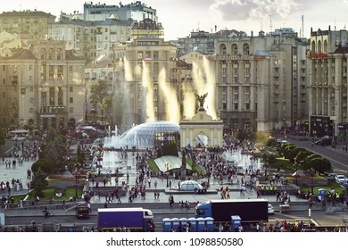 KIEV - MAY 25: View of Maidan Nezalezhnosti, Independence Square May 25, 2018 Kiev, Ukraine. Kyiv prepares to host UEFA Champions League final match between Real Madrid and Liverpool at NSC Olympic.