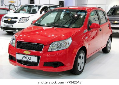 "KIEV - MAY 26: Chevrolet Aveo at yearly automotive-show ""SIA 2011"". May 26, 2011 in Kiev, Ukraine."