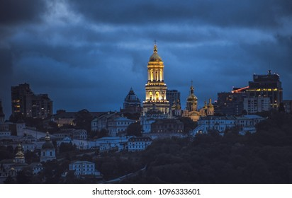 Kiev Monastery of the Caves, is a historic Orthodox Christian monastery. Kiev-Pechersk Lavra cityscape. Ukrainian famous tourist destination, . Evening, outdoors