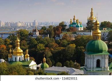 Kiev overview with Dnieper river and Kiev Pechersk Lavra or Kyiv Pechersk Lavra (Kyievo-Pechers'ka lavra