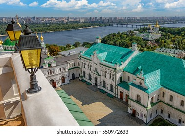 Kiev Pechersk Lavra (Caves Monastery) buildings with Dnjepr river and the cityscape in the background, Ukraine city.
