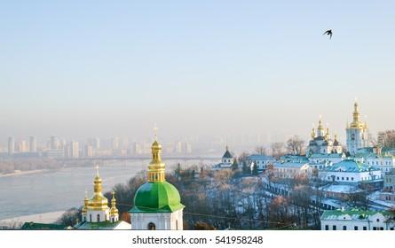 Kiev Pechersk Lavra and Dnieper river view in winter,  Kiev, Ukraine