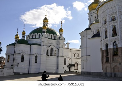 Kiev Pechersk Lavra, male Orthodox cave monastery with golden domes, day, autumn